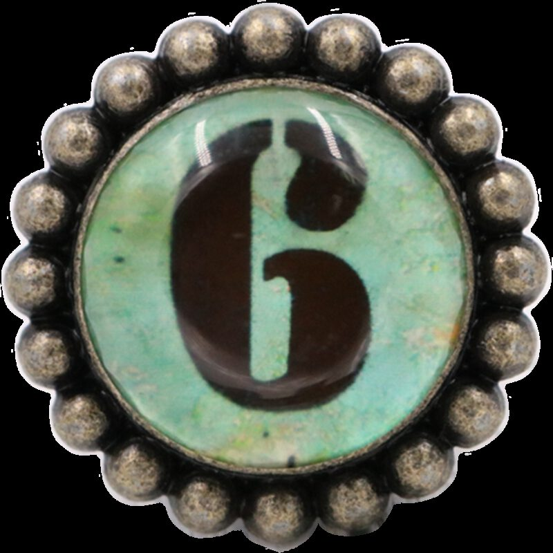 4959 Ashenvale Varema Vintage Patina Number Series Six Antique Brass 42mm Round Glass Knob