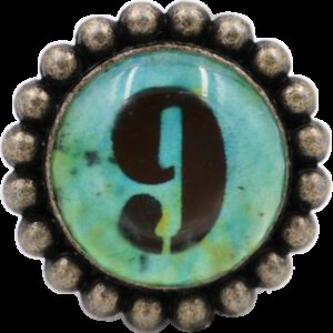 Ashenvale Varema Vintage Patina Number Series Nine Antique Brass 42mm Round Glass Knob