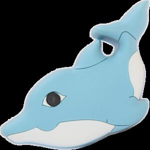 5066 Adorable Light Blue And White Dolphin 62mm Soft Plastic Knob