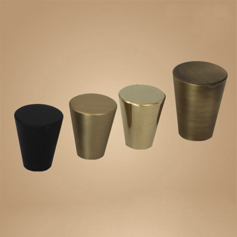 5075 Zen Pure Black 20mm Large Cone Solid Brass Knob