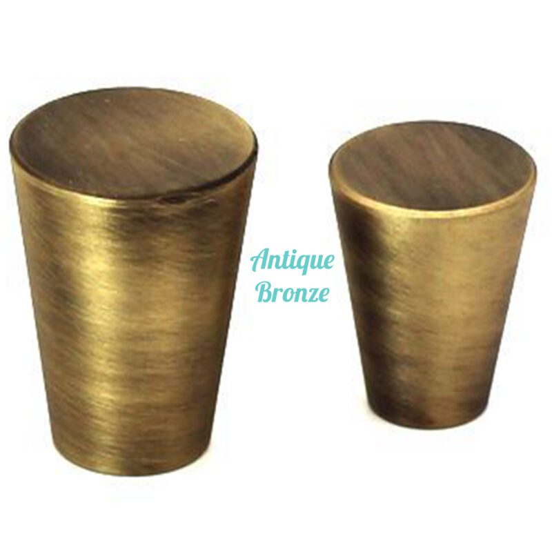 5087 Zen Antique Bronze 20mm Large Cone Solid Brass Knob