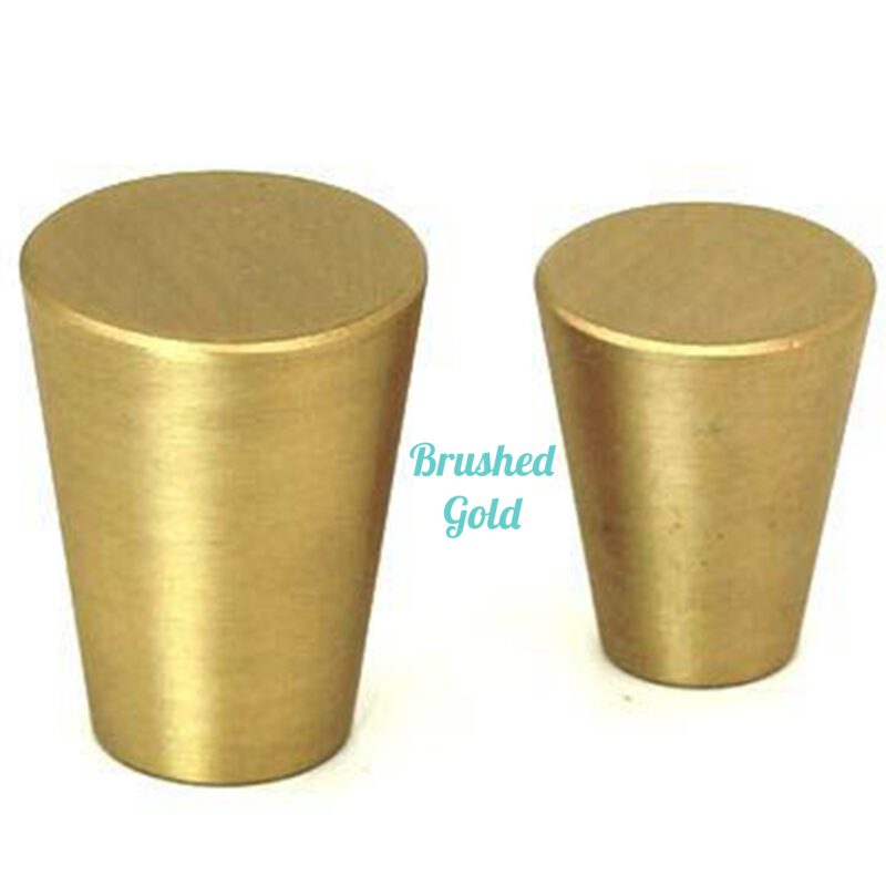 Zen Brushed Gold 20mm Large Cone Solid Brass Knob