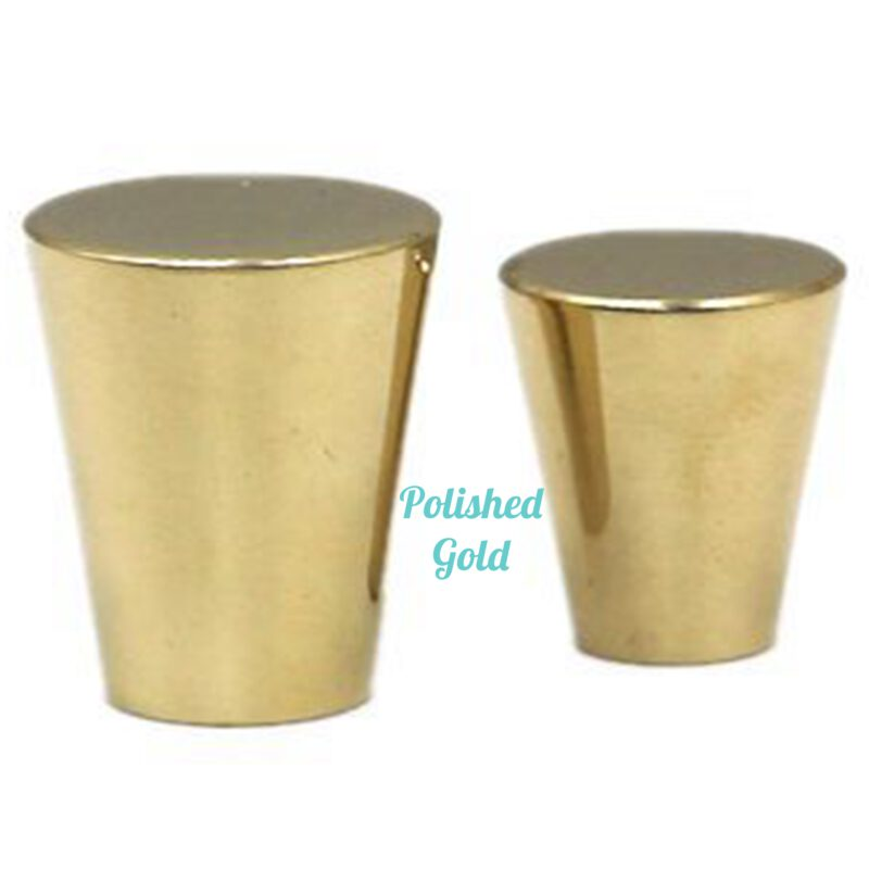 5110 Zen Polished Gold 20mm Large Cone Solid Brass Knob