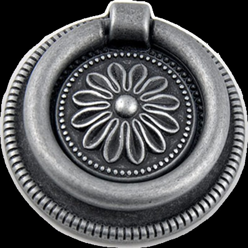 Small Town Collection Pewter Sunflower 54mm Swivel Round Ring Drop Pull