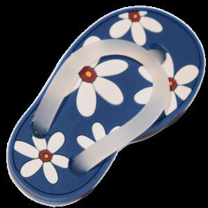5161 Blue With White Daisy Flower Soft Plastic 68mm Left Foot Thong Knob