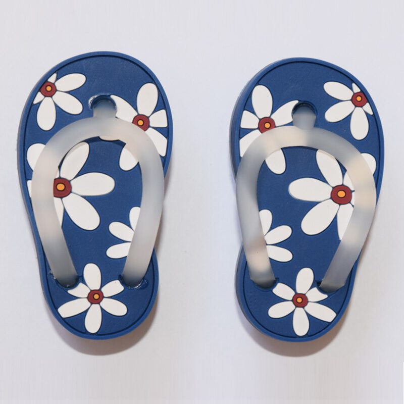 5166 Blue With White Daisy Flower Soft Plastic 68mm Right Foot Thong Knob