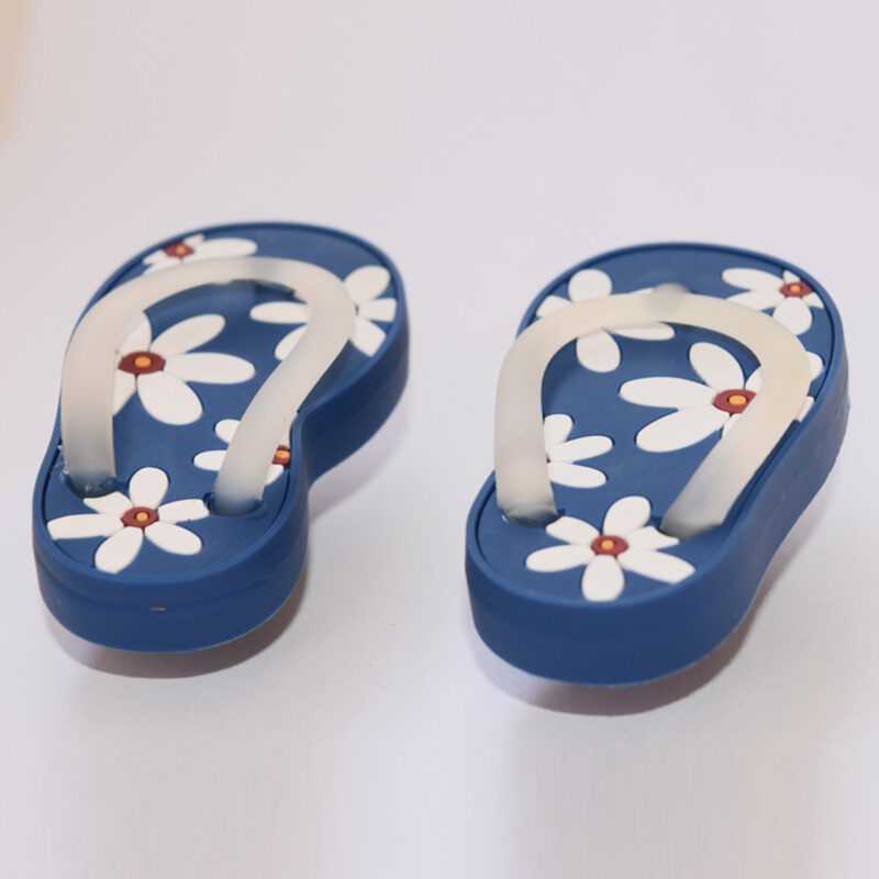 5167 Blue With White Daisy Flower Soft Plastic 68mm Right Foot Thong Knob