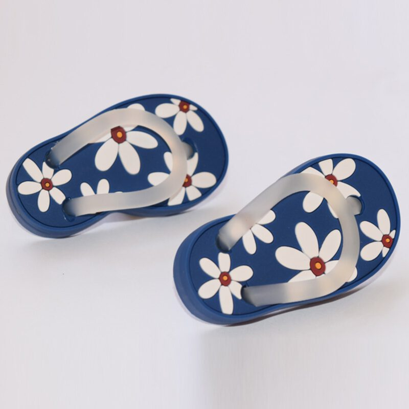 5168 Blue With White Daisy Flower Soft Plastic 68mm Right Foot Thong Knob