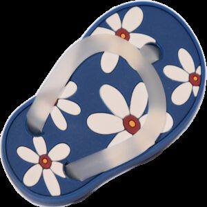 5169 Blue With White Daisy Flower Soft Plastic 68mm Right Foot Thong Knob