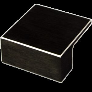 5207 Kassina Brushed Matt Black With Aluminium Highlight 32mm Square Knob