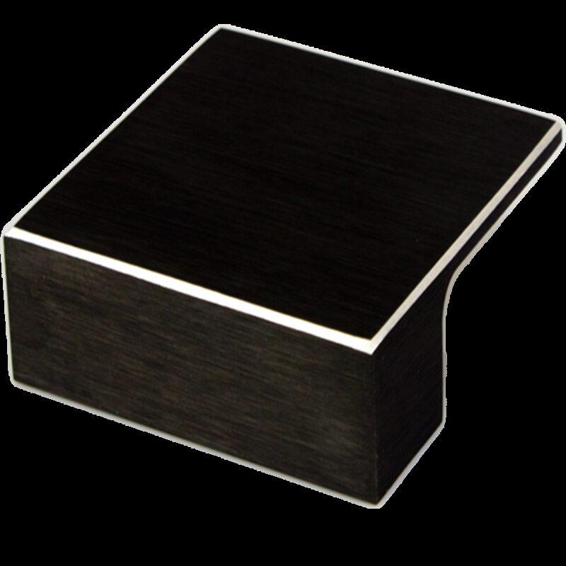 5207 Kassina Brushed Matt Black With Aluminium Highlight 32mm Square Knob