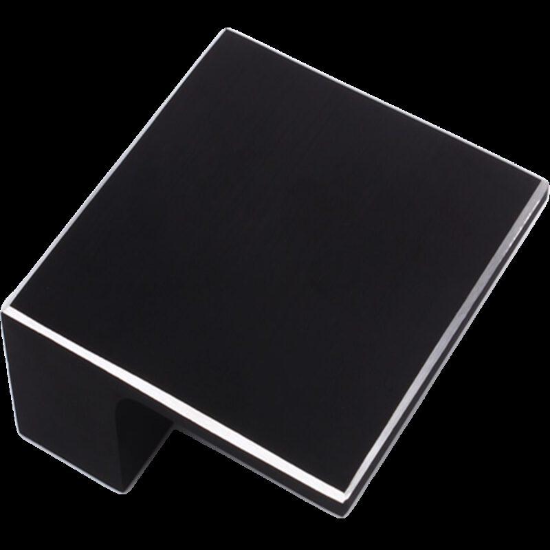 5208 Kassina Brushed Matt Black With Aluminium Highlight 32mm Square Knob