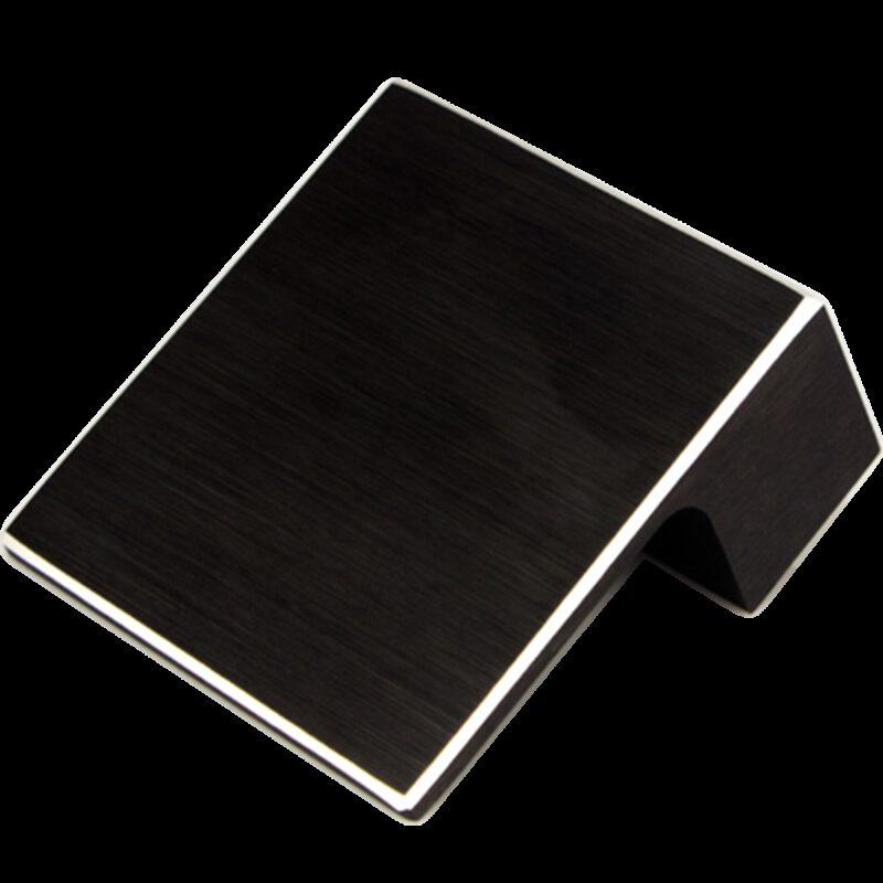 5209 Kassina Brushed Matt Black With Aluminium Highlight 32mm Square Knob