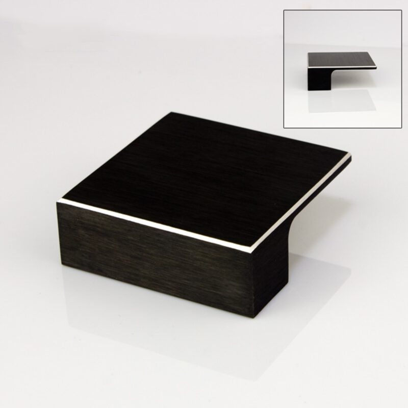Kassina Brushed Matt Black with Aluminium Highlight 32mm Square Knob