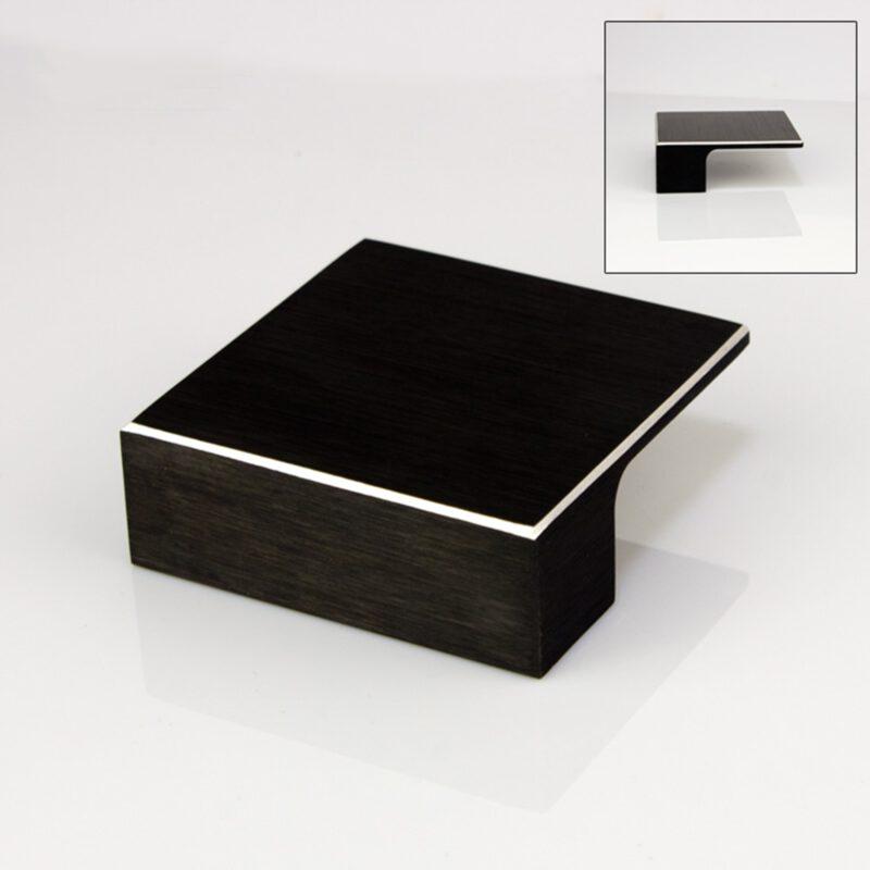 5210 Kassina Brushed Matt Black With Aluminium Highlight 32mm Square Knob