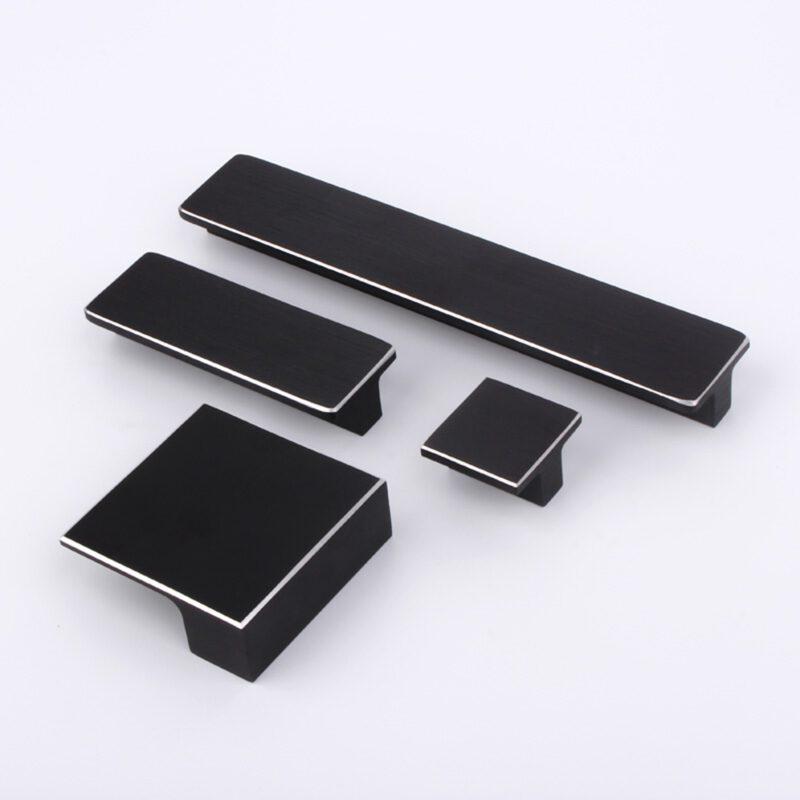 5219 Kassina Brushed Matt Black With Aluminium Highlight 32mm Square Knob