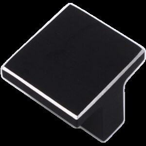5222 Kassina Brushed Matte Black With Aluminium Highlight 16mm Square T Knob