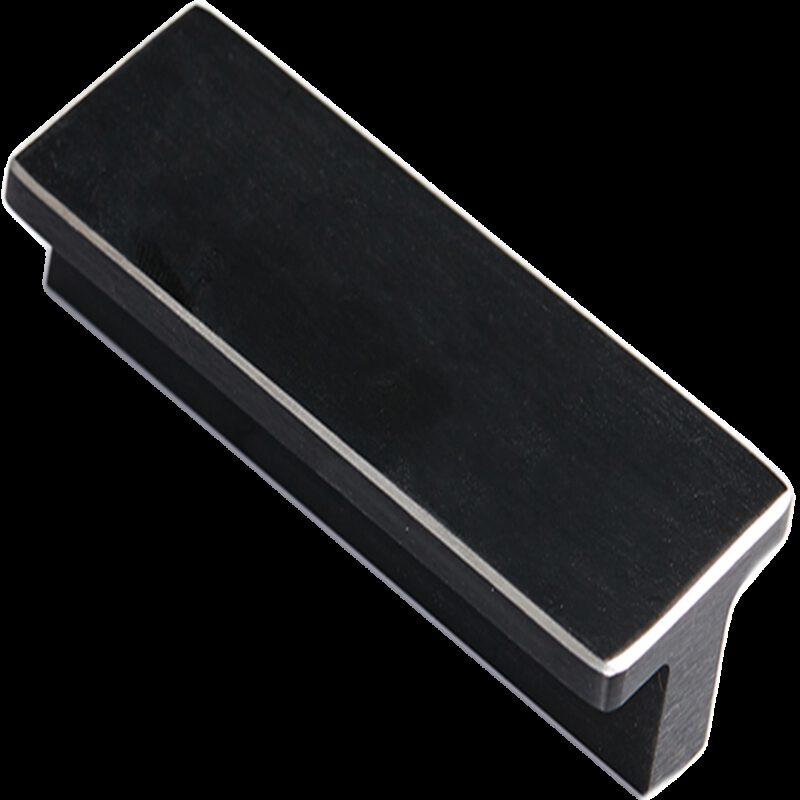 Kassina Brushed Matt Black with Aluminium Highlight 64mm Rectangle T Handle