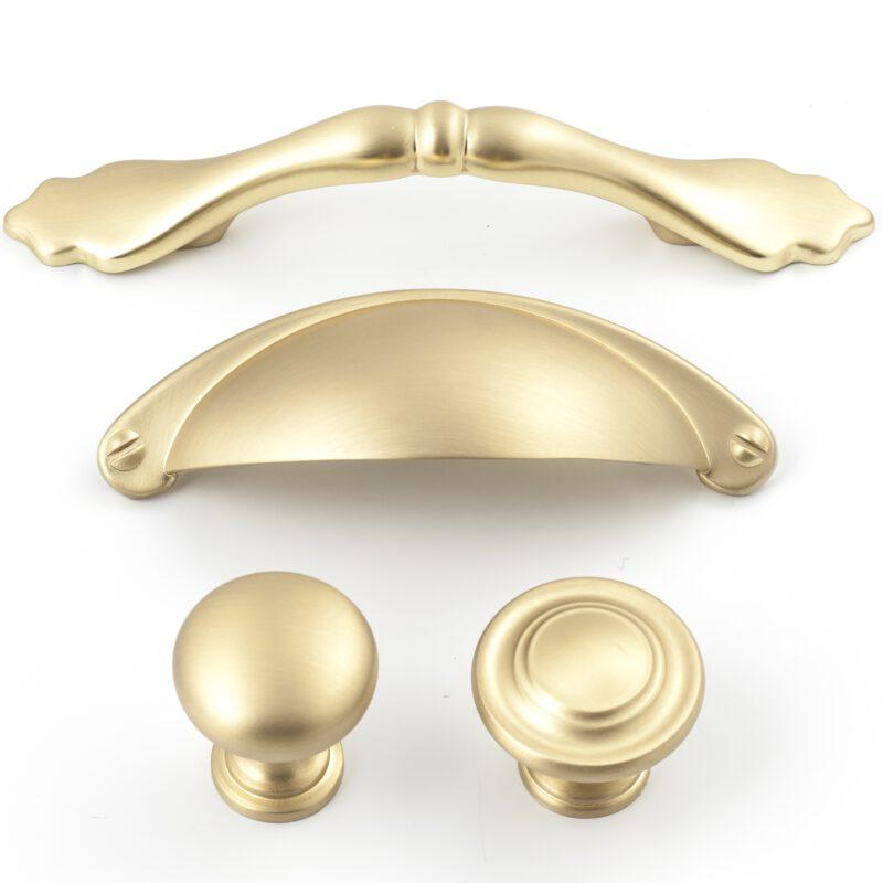 Castella Heritage Shaker Brushed Gold 76mm Bow Handle