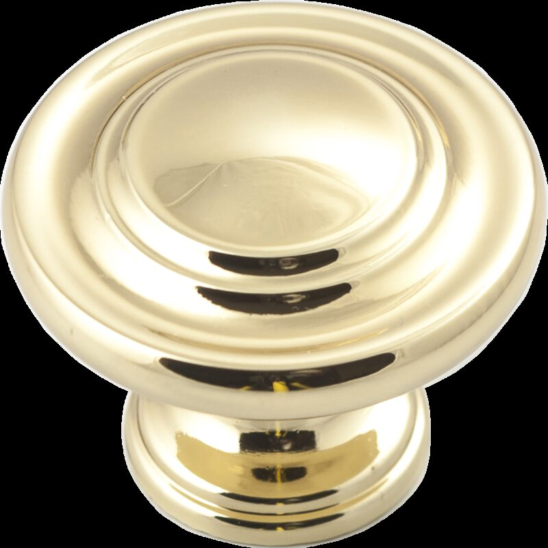 Castella Heritage Shaker Polished Gold 34mm Fluted Round Concentric Knob