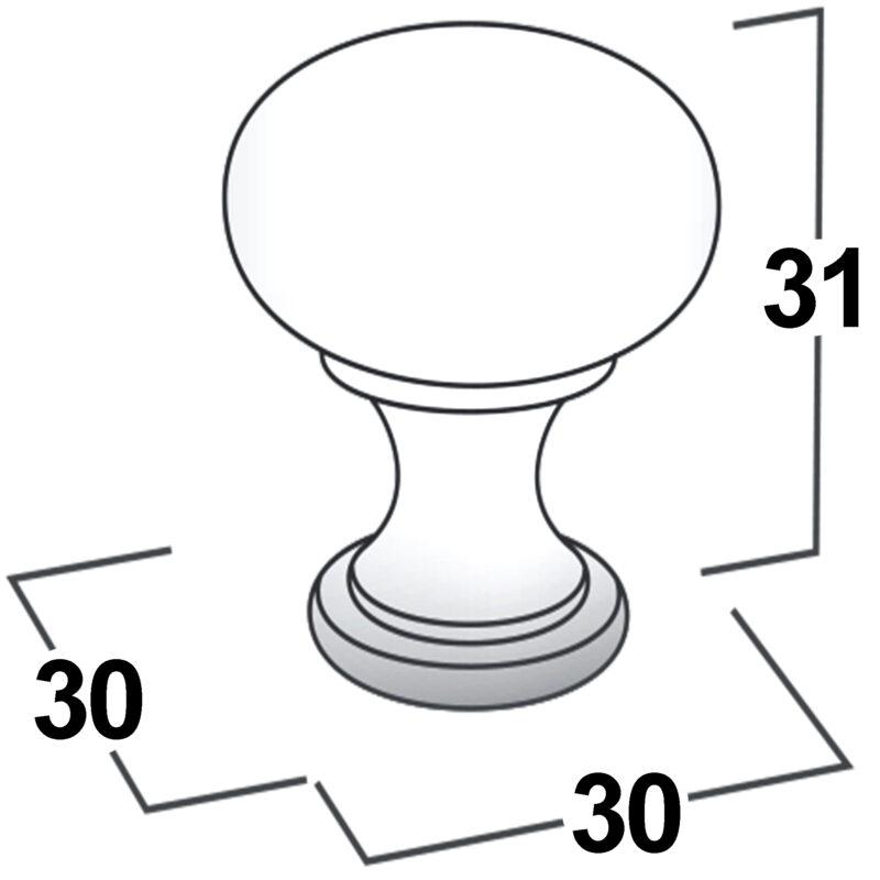 Castella Heritage Shaker Brushed Gold 30mm Round Mushroom Knob 50 030 032 Diagram