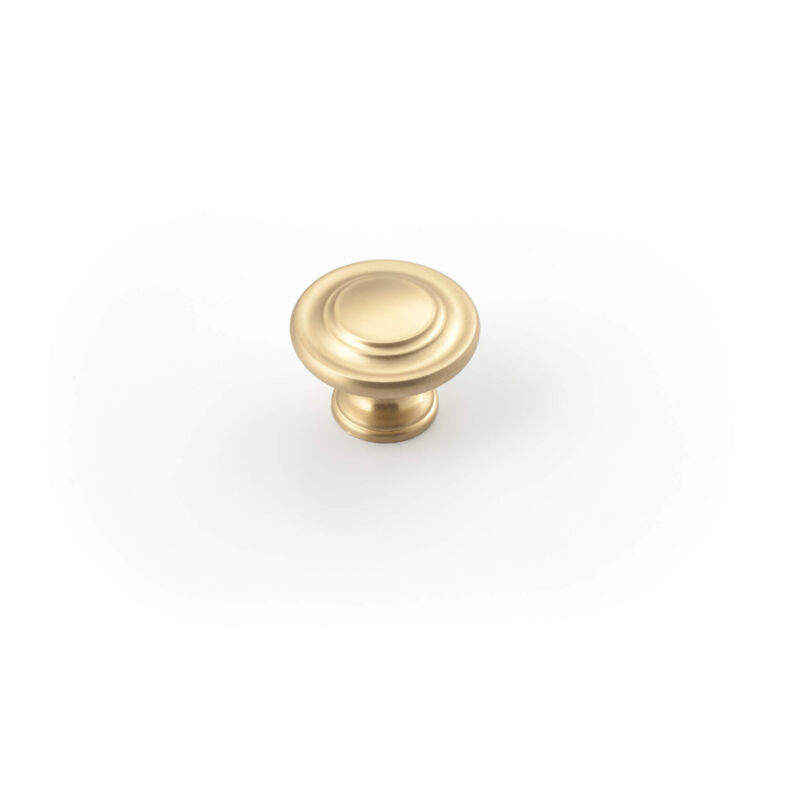 Castella Heritage Shaker Brushed Gold 34mm Fluted Round Knob 56 034 032 1