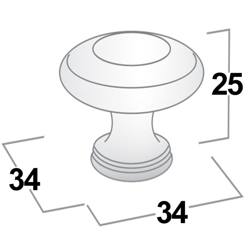 Castella Heritage Shaker Brushed Gold 34mm Fluted Round Knob 56 034 032 Diagram