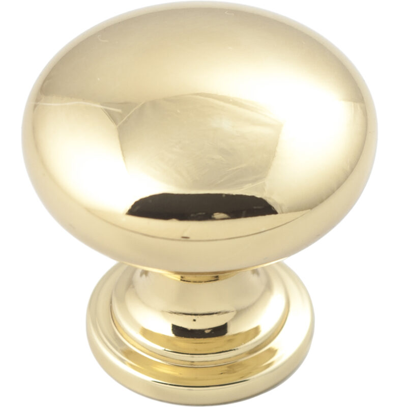 Castella Heritage Shaker Polished Gold 30mm Round Mushroom Knob 50 030 008 2