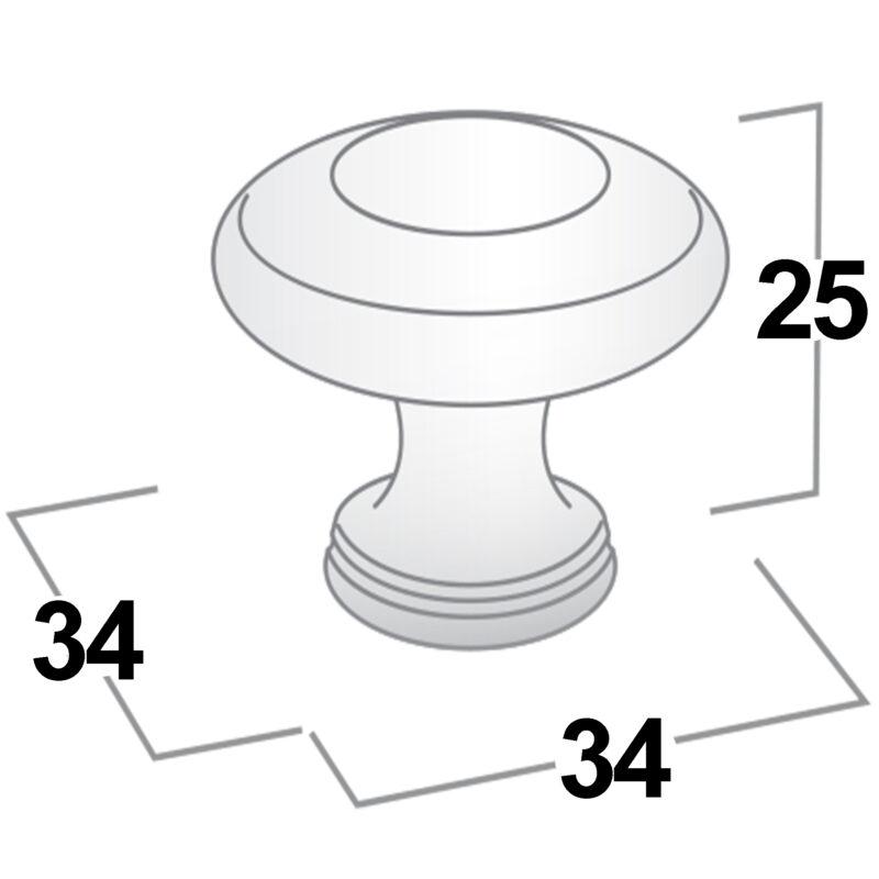 Castella Heritage Shaker Polished Gold 34mm Fluted Round Knob 56 034 008 Diagram