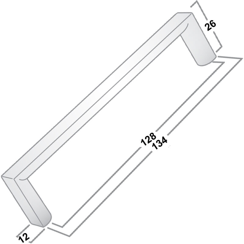 Castella Linear Planar 12mm Brushed Gold 128mm Rounded Flat D Pull Handle 032 128 32 Diagram