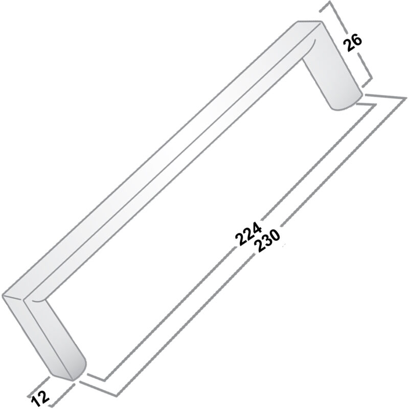 Castella Linear Planar 12mm Polished Gold 224mm Rounded Flat D Pull Handle 032 224 08 Diagram