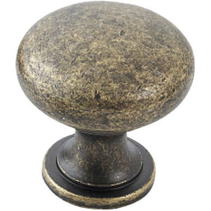 Furnware Dorset Florencia Shaker Antique Brass 29mm Plain Round Knob Dst Ctmk AB