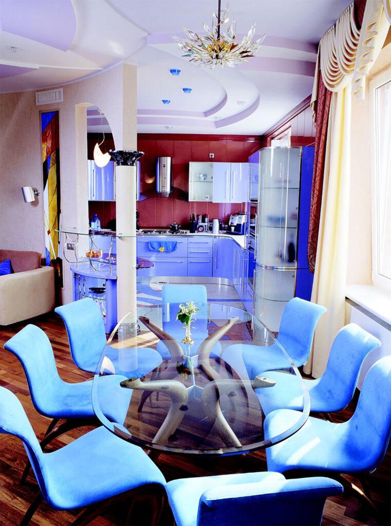 Castella Linear Portal 480mm Rail Handle Unique Blue Kitchen1
