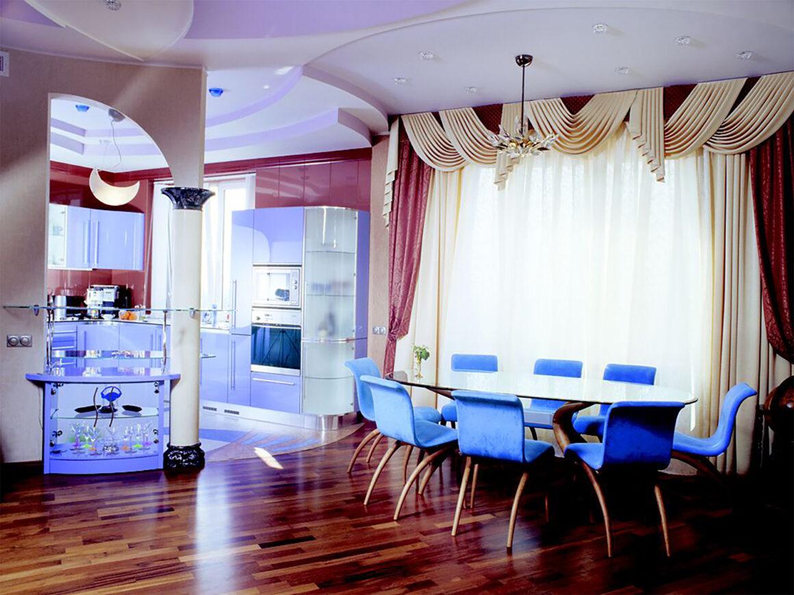 Castella Linear Portal 480mm Rail Handle Unique Blue Kitchen2