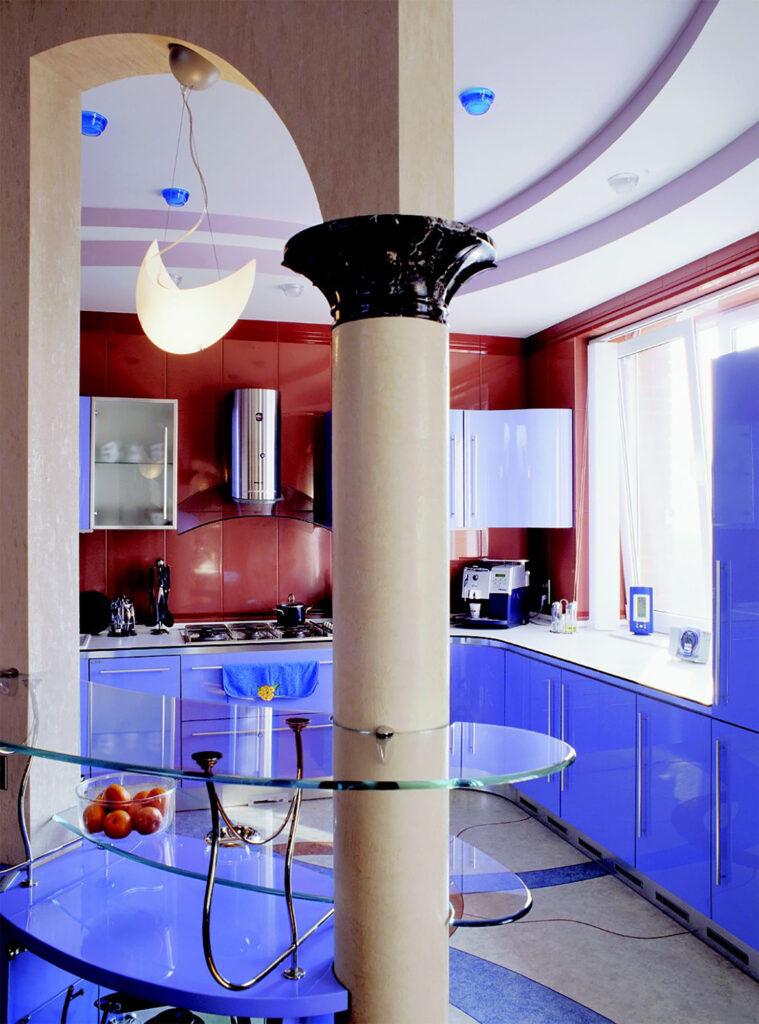 Castella Linear Portal 480mm Rail Handle Unique Blue Kitchen3