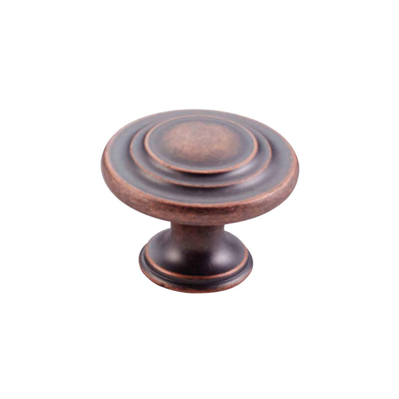 Furnware Dorset Florencia Shaker Antique Copper 33mm Concentric Fluted Knob Dst Ctck Ac 1