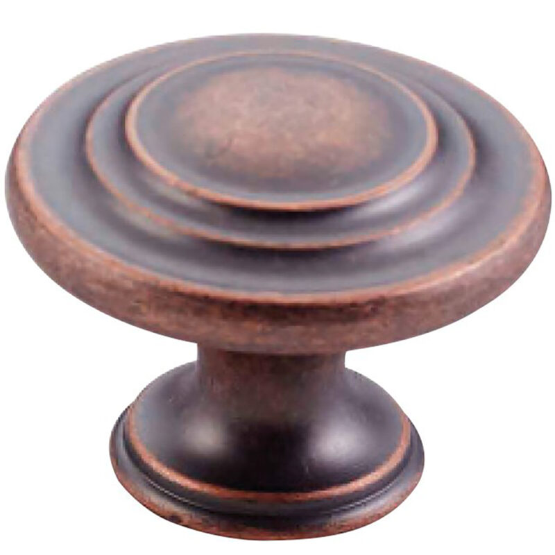 Furnware Dorset Florencia Shaker Antique Copper 33mm Concentric Fluted Knob Dst Ctck Ac
