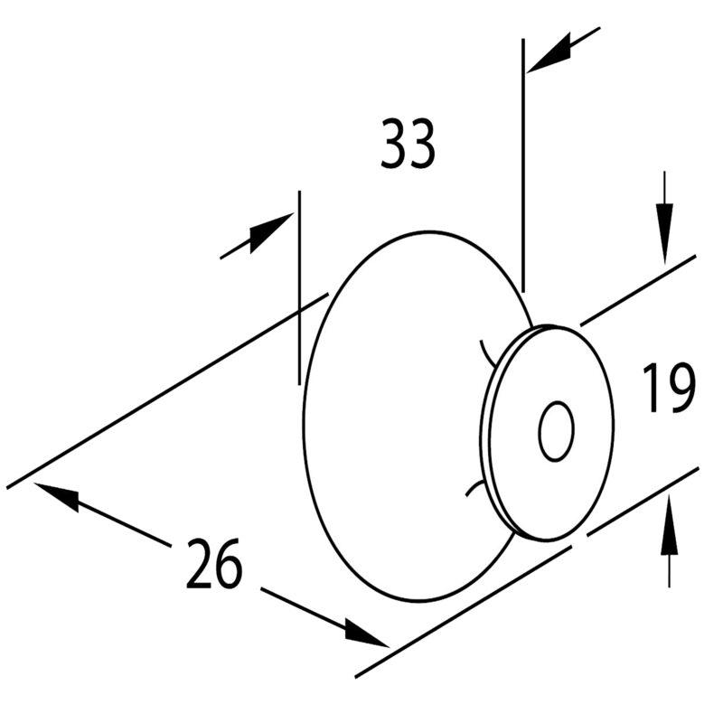 Furnware Dorset Florencia Shaker Matt Black 33mm Concentric Fluted Knob Dst Ctck Mbl Diagram