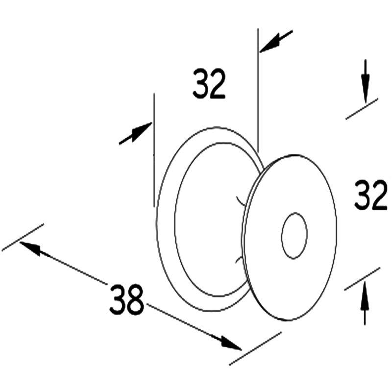 Furnware Dorset Hampton Collection Matt Black 32mm Round Knob With Base Dst Hmk032 Mbl Diagram
