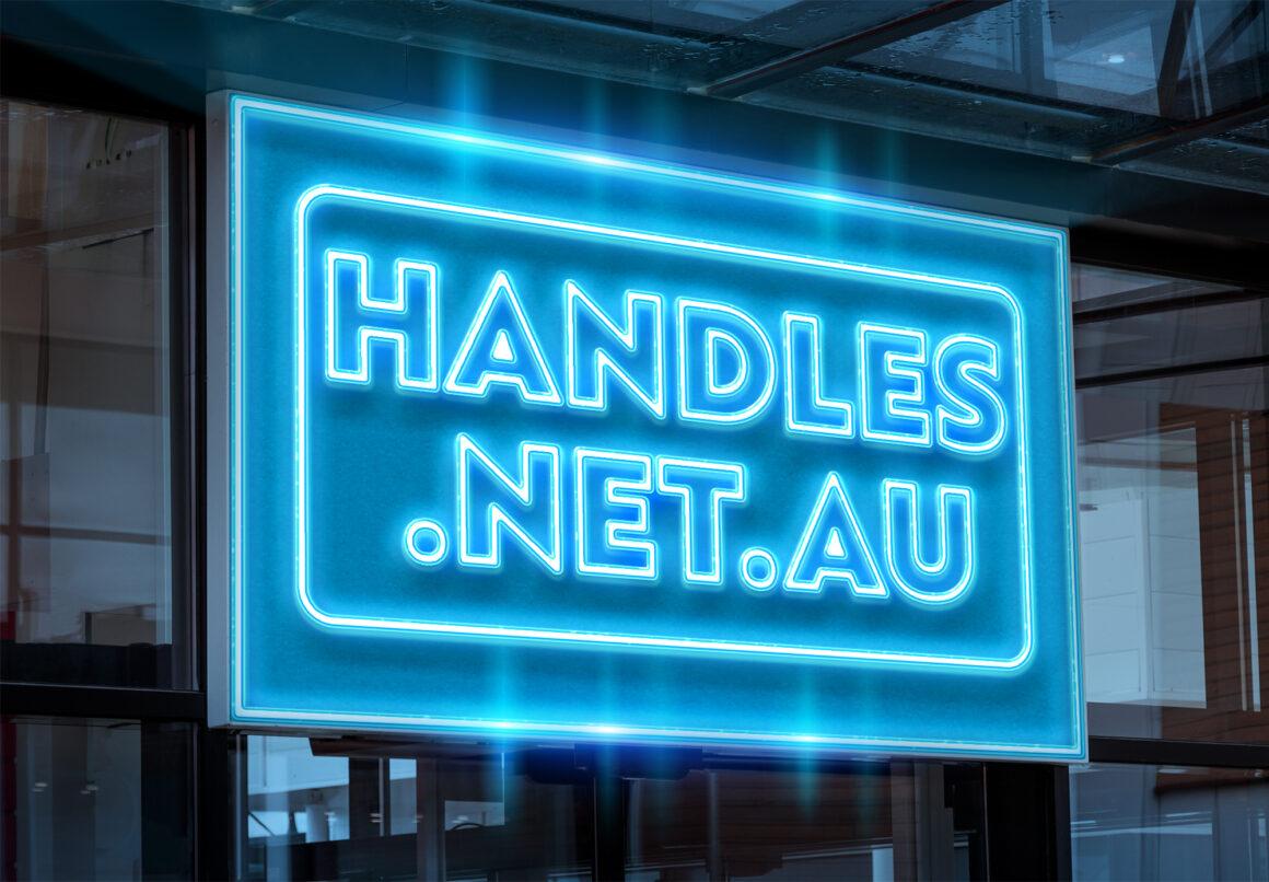 Handles Net Au Neon Sign Logo