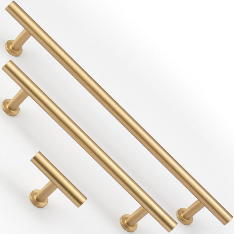 Castella Statement Stirling Satin Brass Range Handles T Knob