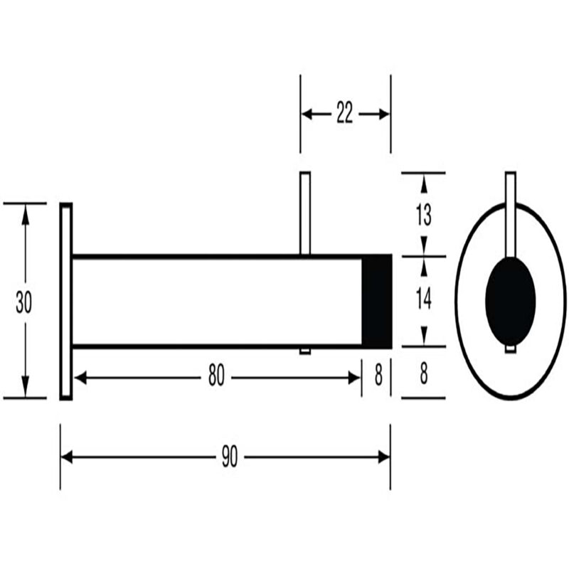 Two In One 30mm Coat Hook With Built In 90mm Door Stop Stainless Steel Dst Tp4162 Ss Diagram