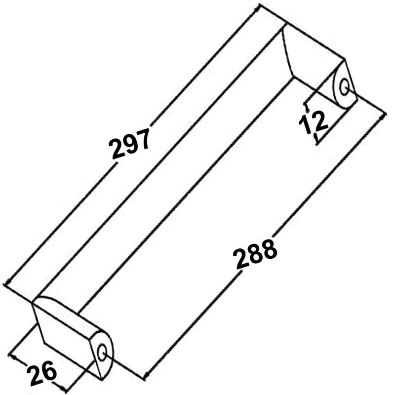 Furnware Dorset Dallas Collection Matt Black 288mm Square D Pull Handle Dst Fdh288 Mbl Diagram