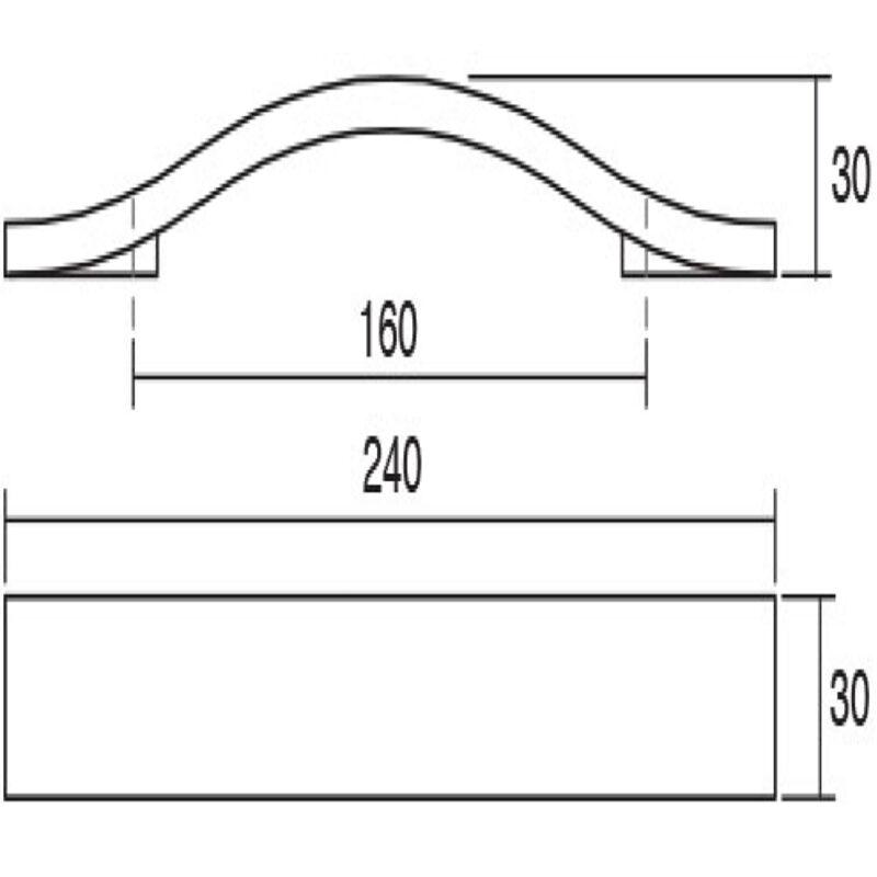 Furnware Calin Oak Woodgrain Ash Wood 160mm Timber Bow Handle C0165 160 Owg Diagram